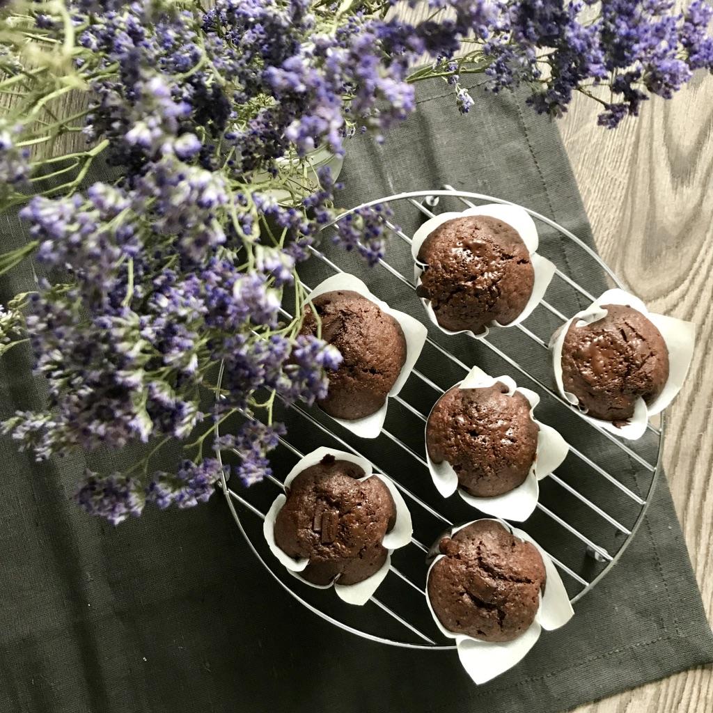Muffins de chocolate para uma amiga vegana